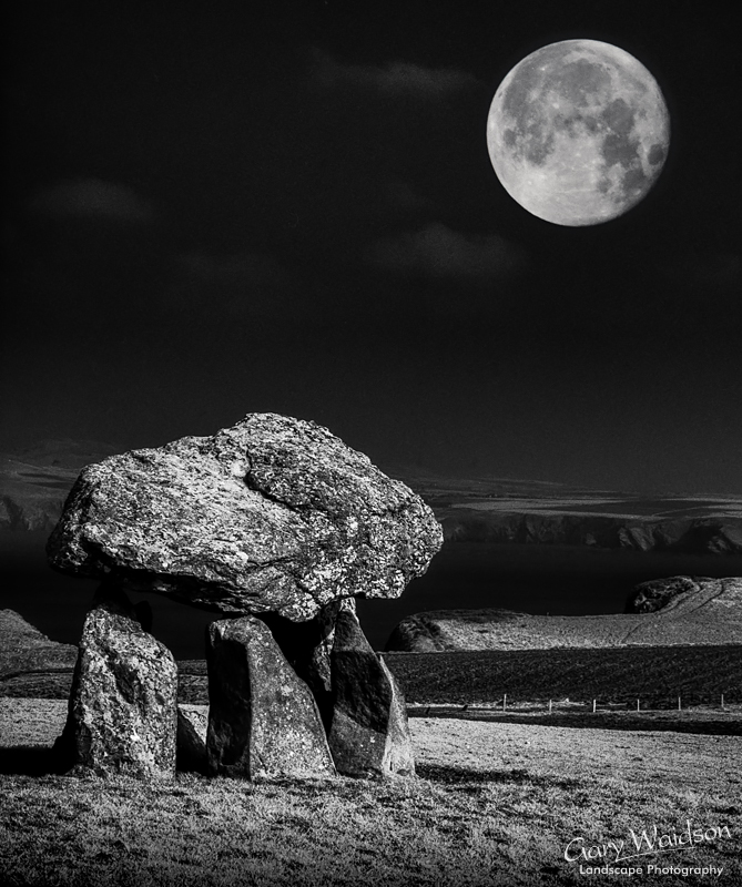 Carreg Sampson and the Moon - Waylandscape. Fine Art Landscape Photography by Gary Waidson