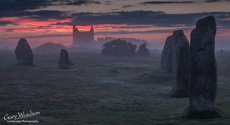 Hurlers Stone circle with Mine building in background. Fine Art Landscape Photography by Gary Waidson