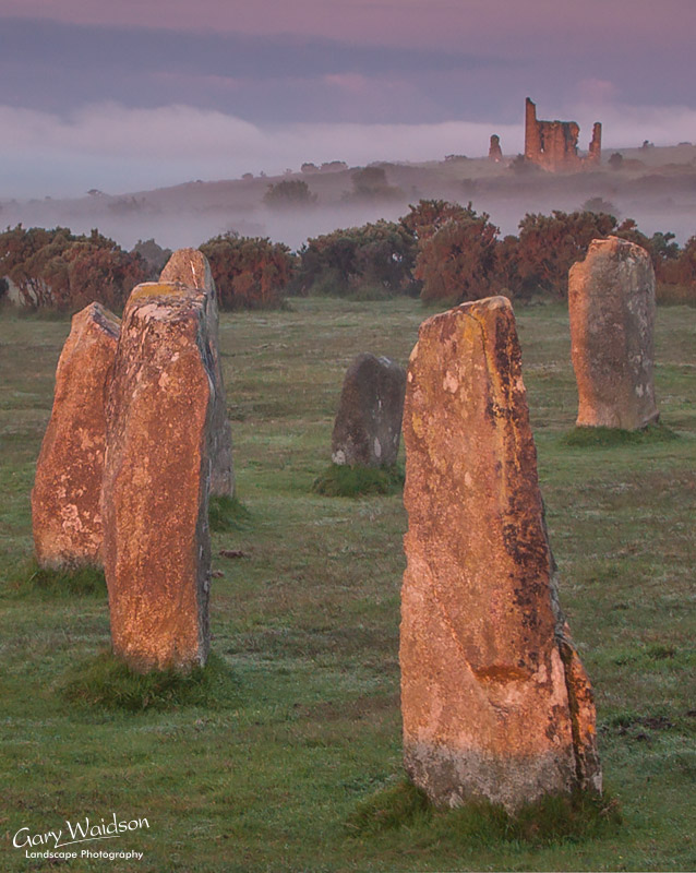 The Hurlers Stone Circle with Mine Building at Sunrise. Fine Art Landscape Photography by Gary Waidson