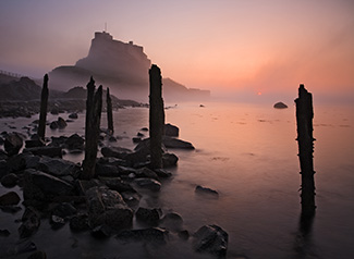 Lindisfarne Castle Sunrise. Shortlisted for Take a View. The Landscape Photographer of the Year 2009. Fine Art Landscape photography by Gary Waidson.