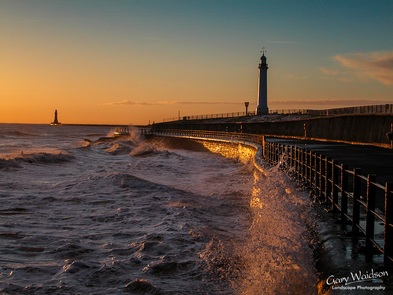 Roker Light over Parson's Rock. Seaburn. Landscape photography by Gary Waidson.