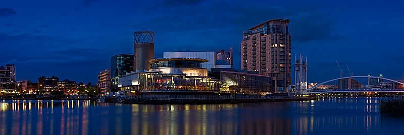 Panorama of Salford Quays at night. Fine Art Landscape Photography by Gary Waidson