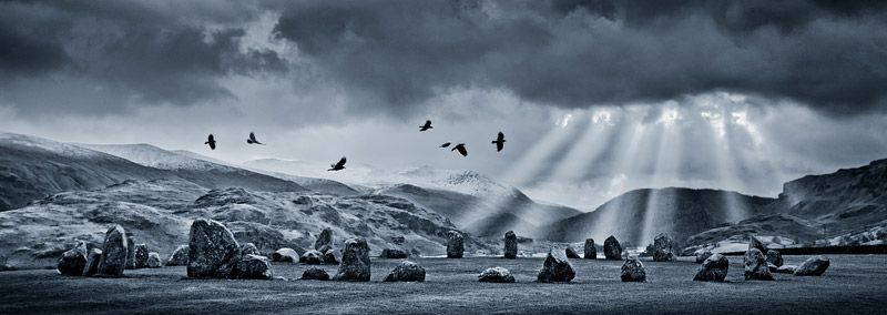 Seven rooks over the Carles, Castlerigg, Cumbria. Landscape photography by Gary Waidson.
