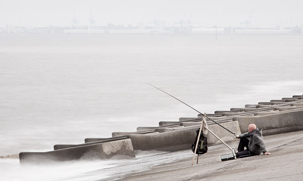 Wallasey Angler. Fine Art Landscape Photography by Gary Waidson