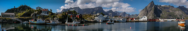 Panoramic view of Hamnoy. Fine Art Landscape Photography by Gary Waidson